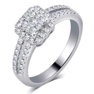 Divina 10K White Gold 1/2ct TDW Diamond Halo Engagement Ring (I-J, I2-I3)