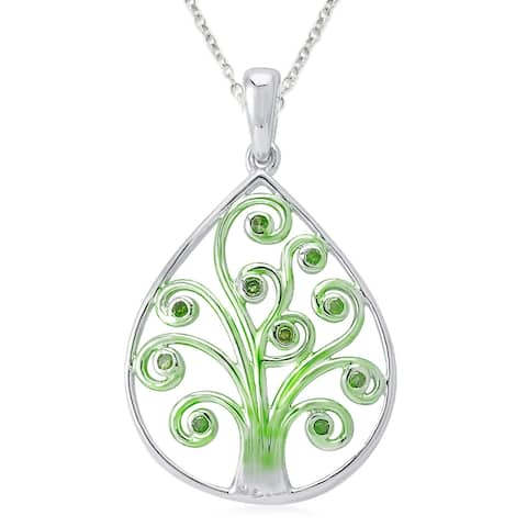 Sterling Silver 1/10ct TDW Green Diamond Tree of Life Pendant Necklace.