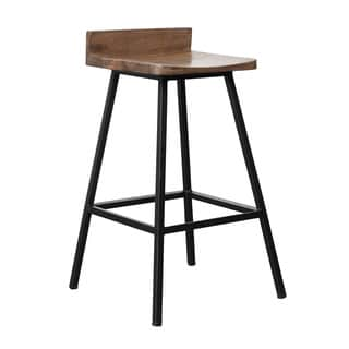 Kosas Home Handcrafted Pennie Mahogany Mango and Black Iron Counter Stool