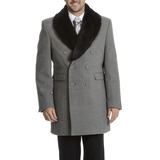 Blu Martini Men's Double-Breasted Wool Top Coat (Option: 48r)