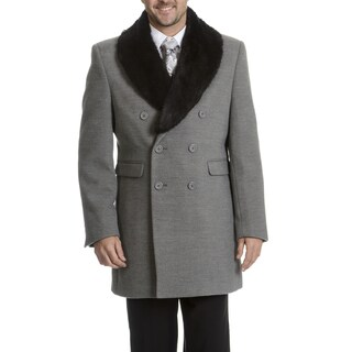 Blu Martini Men's Double-Breasted Wool Top Coat