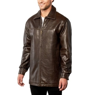 Men's Brown Pebble Lamb Leather Coat