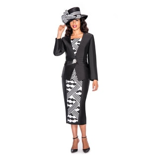 Ella Belle Women's Asymmetrical Stripe Wave 3-piece Skirt Suit