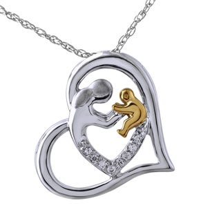Bridal Symphony Sterling Silver with Yellow Gold Plate Parent and Child Diamond Accent Pendant (I-J, I2-I3)