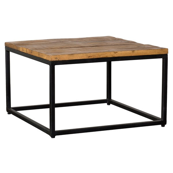Paris Natural Wood And Iron 30 Inch Square Coffee Table By Kosas Home
