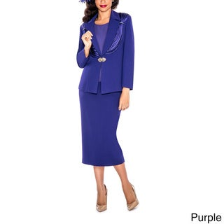 Giovanna Collection Women's Ribbon Tiered Beaded 3-piece Skirt Suit