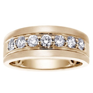 14k Yellow Gold 1ct TDW Brilliant-cut Diamond Men's Ring