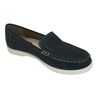 Women's PU Leather Mesh Driving Moccasins with Contrast White Sole