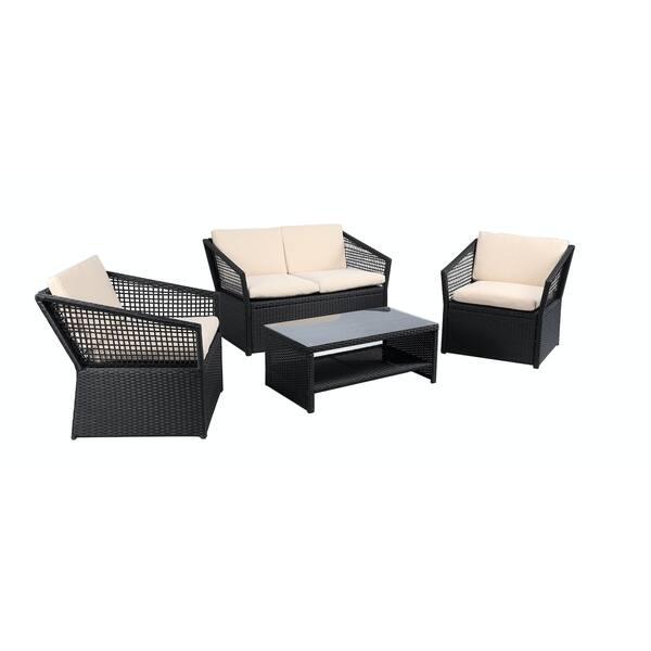 Baner Garden Outdoor Furniture Complete Patio 4 Pieces Pe Wicker Rattan Set Brown