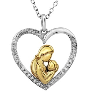 Bridal Symphony 10k Yellow Gold Plate Sterling Silver Diamond Accent Mom and Child Pendant (I-J, I2-I3)