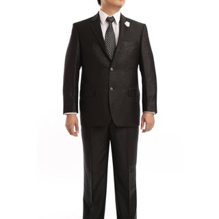 Verno Turano Men's Black Classic Fit Italian-Styled Two-Piece Suit
