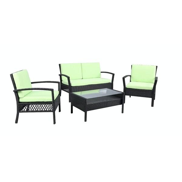 Baner garden outdoor furniture complete patio 4 pieces pe for Outdoor furniture 0 finance