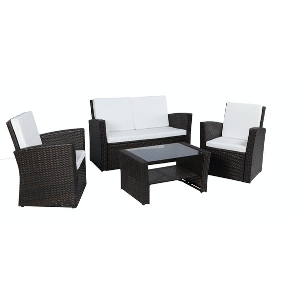 Baner Garden Outdoor Furniture Complete Patio 4 Pieces Cushion PE Wicker  Rattan Garden Set, Black