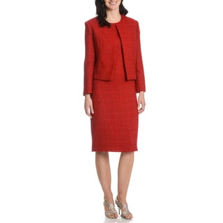 Mia-Knits Collection Women's Glitter Boucle 2-piece Dress Suit