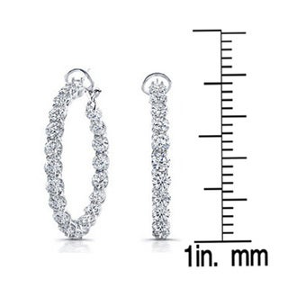 18k White Gold 7 1/2ct TDW Diamond Hoop Earrings