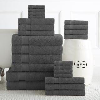 100-percent Plush Cotton 24-piece Economic Bath Towel Set (Option: Grey)