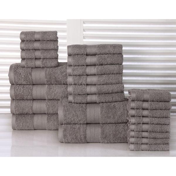 100percent Plush Cotton 24piece Economic Bath Towel Set On