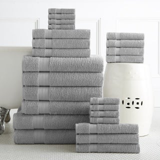 100-percent Plush Cotton 24-piece Economic Bath Towel Set