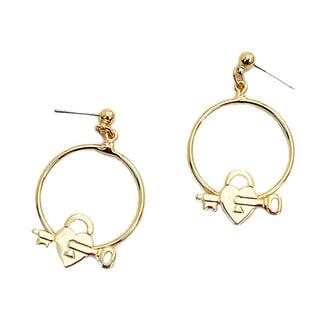 Detti Originals Handmade Goldtone Key to Heart Hoop Earrings