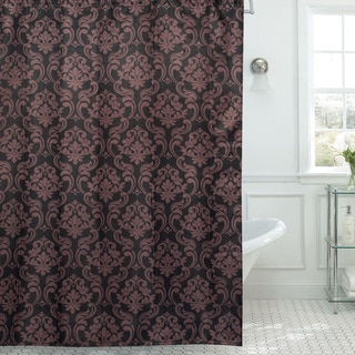 Chain Damask/ Print Diamond Texture 13-piece Shower Curtain and Roller Hooks Set