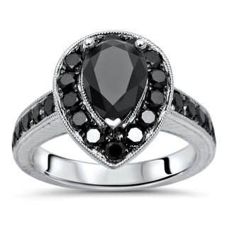 Noori Certified 14k White Gold 2 1/5ct TDW Black Diamond Engagement Ring