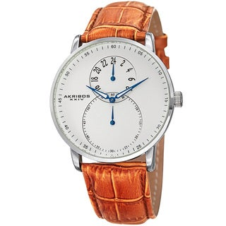 Akribos XXIV Men's Multifunction Quartz Leather Silver-Tone Strap Watch