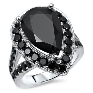 Noori Certified 14k White Gold 5 1/2ct TDW Black Diamond Engagement Ring