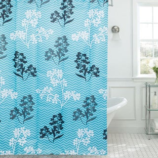 Modern Leaves Print / Piece Diamond Texture 13-piece Shower Curtain and Roller Hooks Set
