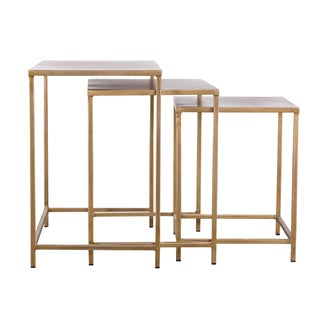Industrial Modern 3-piece Brass Nesting Tables