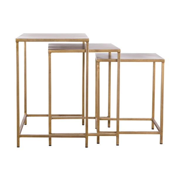 Industrial Modern 3 piece Brass Nesting Tables Free
