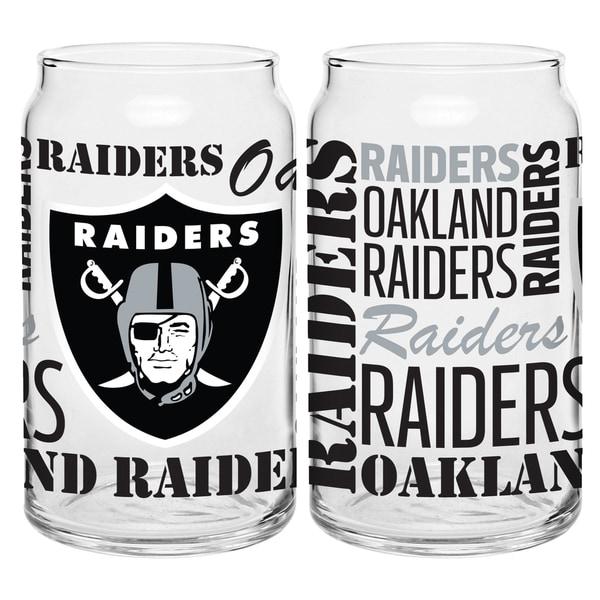 Oakland Raiders 16-Ounce Glass Spirit Glass Set