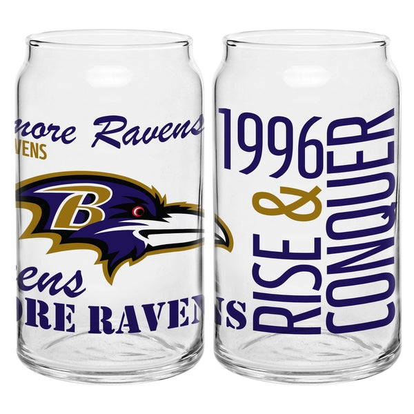 Baltimore Ravens 16-Ounce Glass Spirit Glass Set