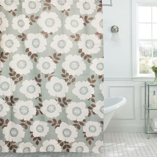 Sage and Ivory Floral Print Diamond Texture 13-piece Shower Curtain and Roller Hooks Set