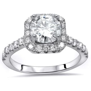 Noori 18k White Gold 1 1/4ct TDW Round-cut Diamond Enhanced Engagement Ring