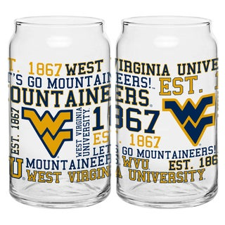 West Virginia Mountaineers 16-ounce Spirit Glass Set