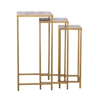 Industrial Modern 3-piece Tall Brass Nesting Tables