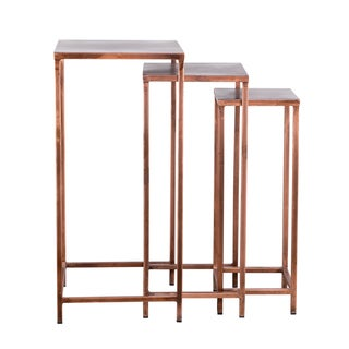 Industrial Modern 3-piece Tall Copper Nesting Tables