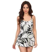 White Leaves One Piece Swimdress