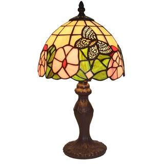 Amora Lighting Tiffany-style Flowers and Butterflies Design Table Lamp