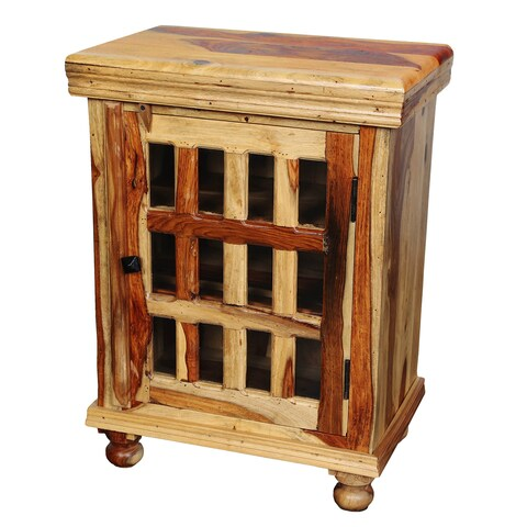 Handmade Porter Taos Solid Sheesham Bedside Cabinet with 12 Glass Panes - Brown (India)