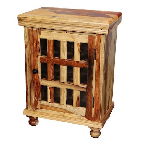 "Handmade Taos Sheesham Cabinet with 12 Glass Panes - 29"" x 14"" x 21"" (India)"