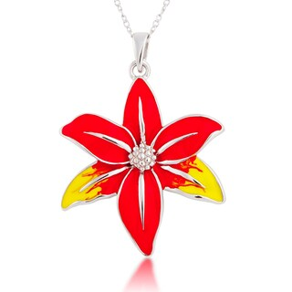 Sterling Silver Red and Yellow Enamel Flower Pendant