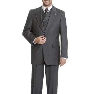 Falcone Men's Double-Breasted Vest 3 Piece Suit