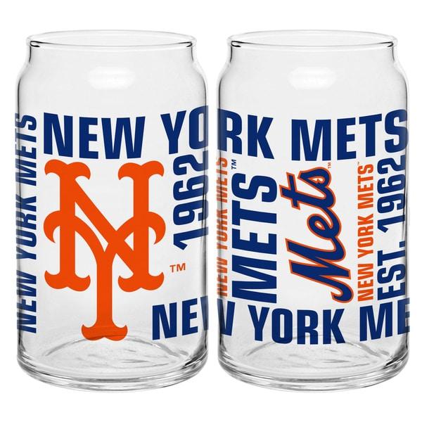 New York Mets 16-Ounce Glass Spirit Glass Set