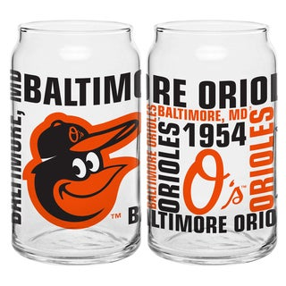 Baltimore Orioles 16-Ounce Glass Spirit Glass Set
