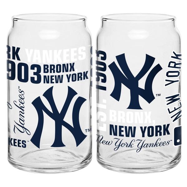 New York Yankees 16-Ounce Glass Spirit Glass Set