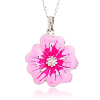 Sterling Silver Pink Enamel Flower Pendant