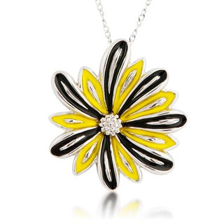 Sterling Silver Yellow and Black Enamel Flower Pendant