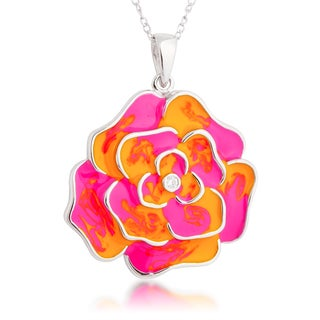 Sterling Silver Pink and Orange Enamel Flower and Cubic Zirconia Pendant