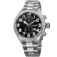 Akribos XXIV Men's Quartz Chronograph Stainless Steel Silver-Tone Bracelet Watch - Black